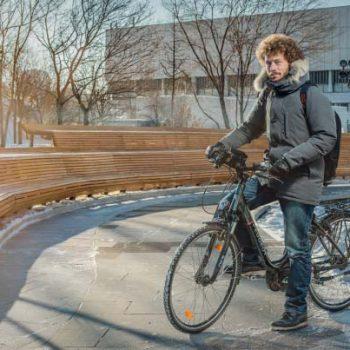 Зимой на работу на велосипеде